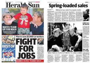 Wow! Maxi on the front page of the paper? Again!  Thank you Herald Sun!